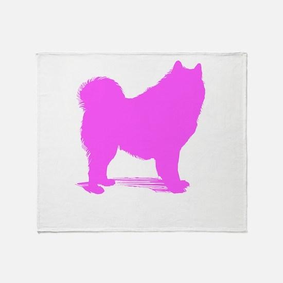 Pink Samoyed Silhouette Throw Blanket