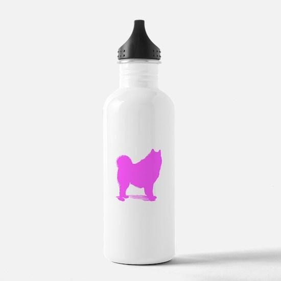 Pink Samoyed Silhouette Water Bottle