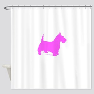 Pink Scottie Silhouette Shower Curtain