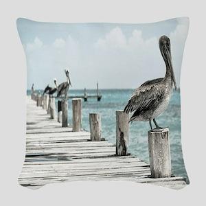 Pelicans Woven Throw Pillow