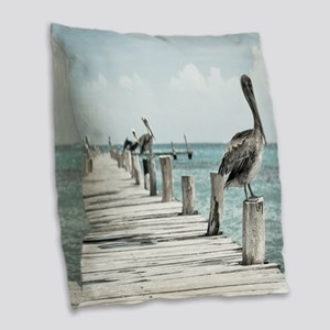 Pelicans Burlap Throw Pillow