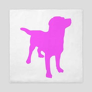 Pink Labrador Retriever Silhouette Queen Duvet