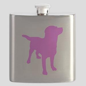 Pink Labrador Retriever Silhouette Flask