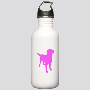 Pink Labrador Retriever Silhouette Water Bottle