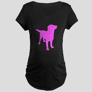 Pink Labrador Retriever Silhouette Maternity T-Shi
