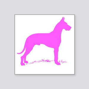 Pink Great Dane Silhouette Sticker