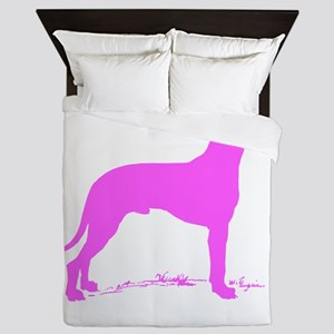 Pink Great Dane Silhouette Queen Duvet