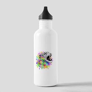 Leopard Psychedelic Paint Splats Water Bottle