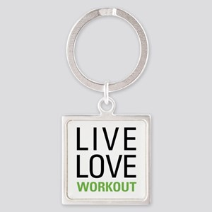 Live Love Workout Square Keychain
