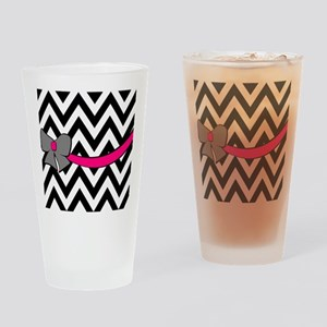 With a Gray and Pink Bow Drinking Glass