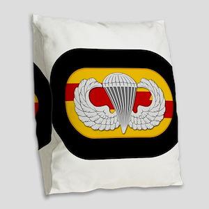 75th Ranger Airborne Burlap Throw Pillow