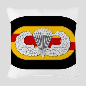 75th Ranger Airborne Woven Throw Pillow