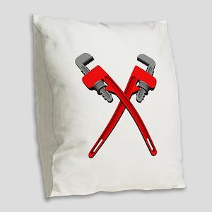 Monkey Wrenches Burlap Throw Pillow