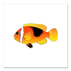 Fire Clownfish Square Car Magnet 3