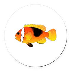 Fire Clownfish Round Car Magnet