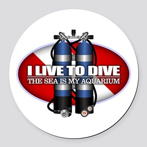 Live To Dive (ST) Round Car Magnet