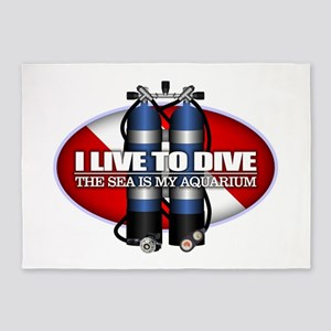 Live To Dive (ST) 5'x7'Area Rug