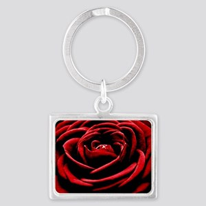 Single Red Rose Landscape Keychain