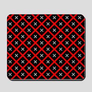Black and Red Diamond Pattern Mousepad