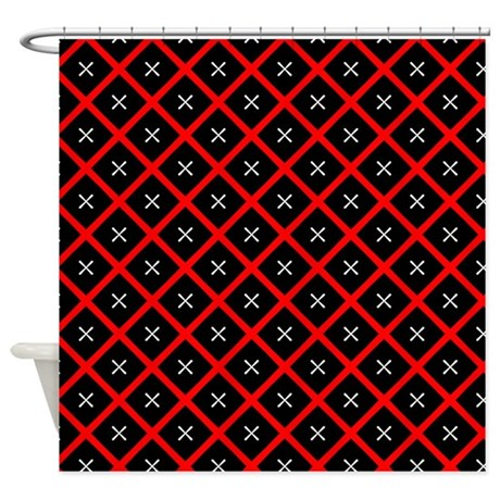 Black And Red Diamond Pattern Shower Curtain