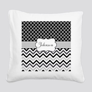 Gray Black Chevron Personalized Square Canvas Pill