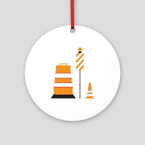 Construction Zone Cones Round Ornament