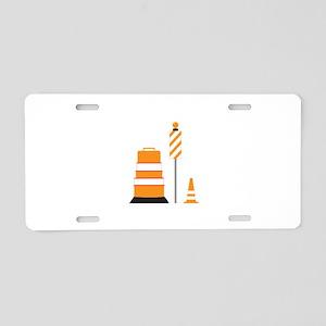 Construction Zone Cones Aluminum License Plate