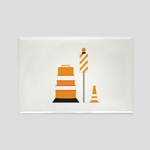 Construction Zone Cones Rectangle Magnet