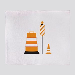 Construction Zone Cones Throw Blanket