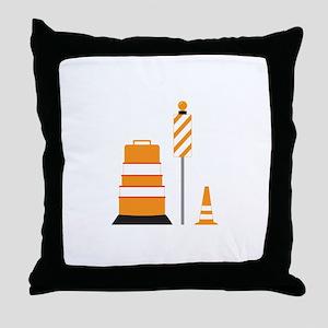 Construction Zone Cones Throw Pillow