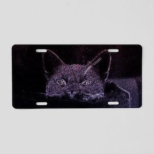 Black Cat Peeking Aluminum License Plate