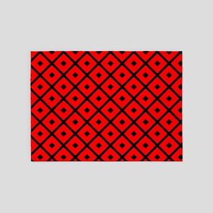 Black and Red Diamond 5'x7'Area Rug