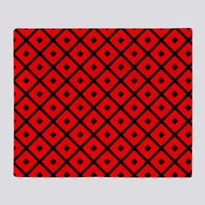 Black and Red Diamond Throw Blanket