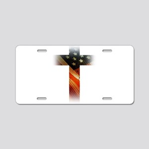 Flag in Cross Aluminum License Plate
