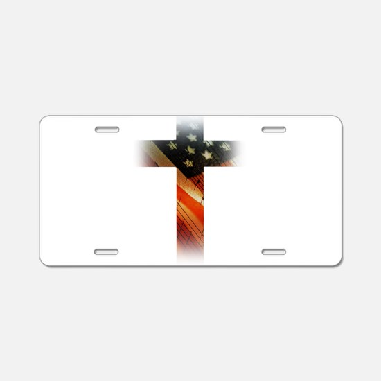 Flag in Cross Aluminum License Plate