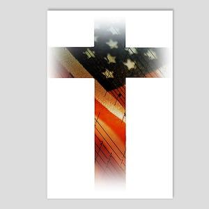 Flag in Cross Postcards (Package of 8)