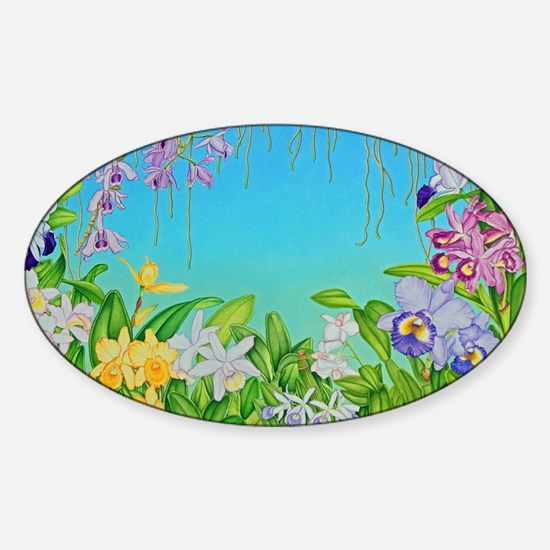 Orchid Garden Sticker (Oval)