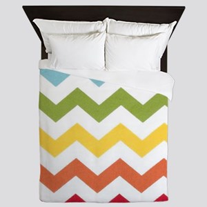 Classy rainbow chevron stripes Queen Duvet