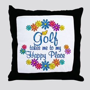 Golf Happy Place Throw Pillow