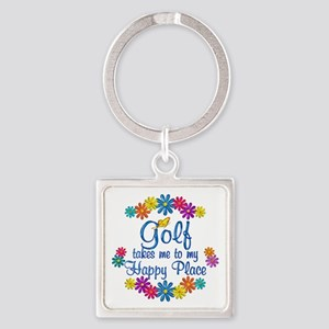 Golf Happy Place Square Keychain