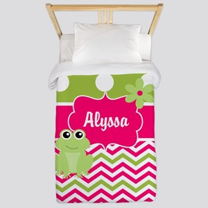 Pink Green Chevron Frog Personalized Twin Duvet