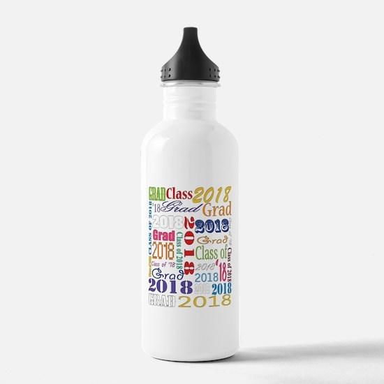 2018 Graduation Typogr Water Bottle