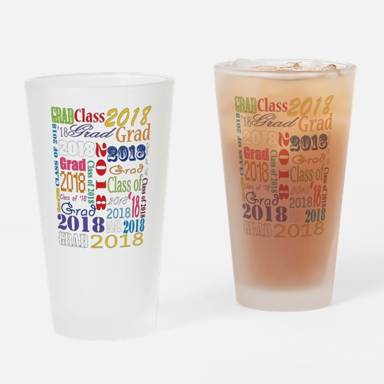 2018 Graduation Typography Drinking Glass