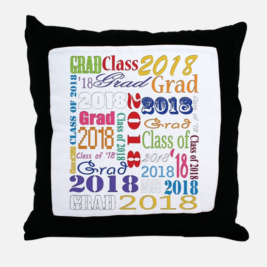 2018 Graduation Typography Throw Pillow