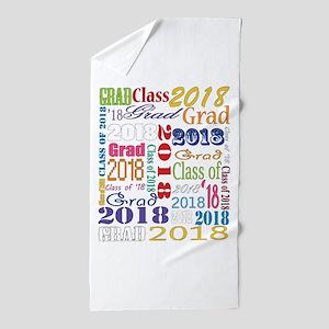 2018 Graduation Typography Beach Towel