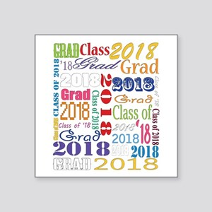 "2018 Graduation Typography Square Sticker 3"" x 3"""