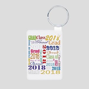 2018 Graduation Typography Aluminum Photo Keychain