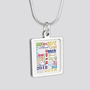 2018 Graduation Typography Silver Square Necklace
