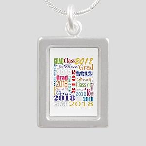 2018 Graduation Typograp Silver Portrait Necklace