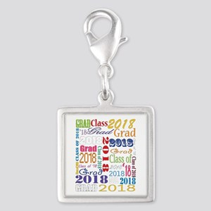 2018 Graduation Typography Silver Square Charm
